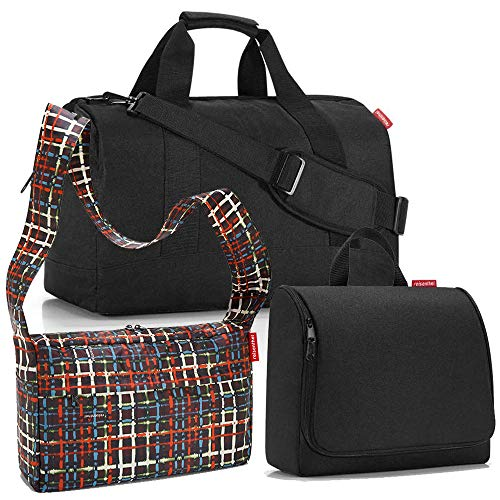 reisenthel Allrounder L mit toiletbag XL und wahlweise mit extra Zugabe Reisetasche Waschtasche (Black+citybag Wool)