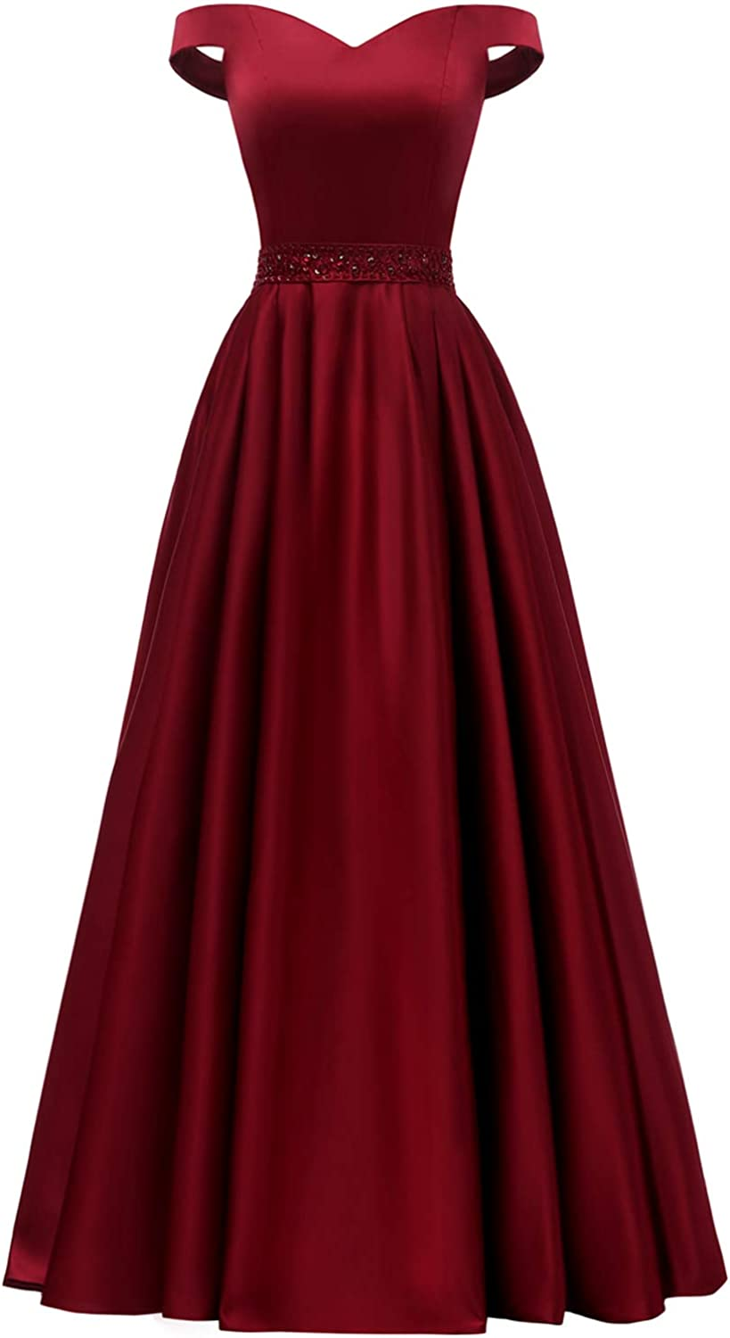 Yorformals Women's Off The Shoulder Aline Beaded Satin Prom Dress Long Evening Ball Gown with Pockets Size 8 Burgundy