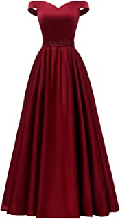 YORFORMALS Women`s Off The Shoulder A-line Beaded Satin Prom Dress Long Evening Ball Gown with Pockets
