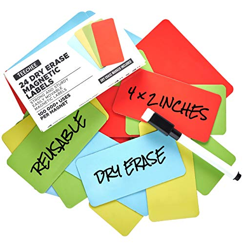 24 Large Magnetic Dry Erase Labels 4x2 inches by TEECHEE + Dry Erase Marker | Reusable Dry Erase Magnets for Homeschool, Office, Classroom, Household | Use on Whiteboards and Other Magnetic Surfaces
