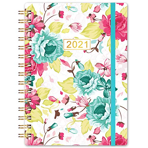 Planner 2021- Weekly & Monthly Planner, 8.5' x 6.4', January 2021 - December 2021, Flexible Floral Hardcover with Strong Golden Binding, Elastic Closure, Coated Tabs, Inner Pocket