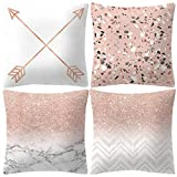 Pillow Cases, 4 PCS Rose Gold Pink Cushion Cover Square Pillowcase Home Sofa Decorations Pillow Covers