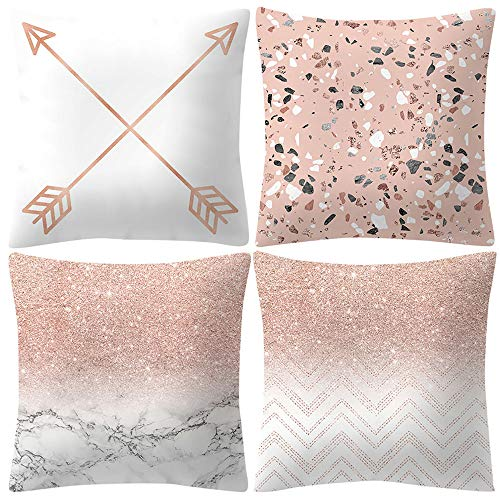 4 Pcs Pillowcase Cushion Cover,veyikdg Rose Gold Pink Simple Fashion Letter Flower Pattern Square Cushion Covers Home Decoration Room Bed Office Sofa Car Chair Chic Gift Pillow Case (ღG)