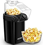 Popcorn Maker, AICOK 1200W Fast Hot Air Popcorn Popper with Measuring Cup, Easy To Clean, Oil-Free & Low-Fat, Black