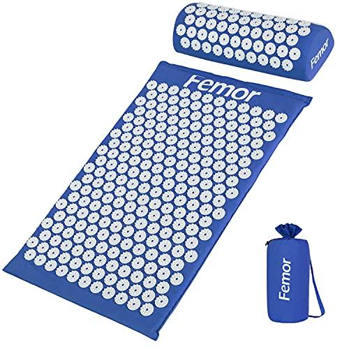 Femor Esterilla de Acupresión Kit con Almohada y Bolsa para Acupuntura y Yoga, para el Dolor de Espalda y Cuello Dolor Ciático, Insomnio, Alivio Muscular Relajación (Azul)