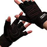 ANJ Sports Weight Lifting/Workout Gloves with Integrated Wrist Support for Men and Women; Lightweight Gym Gloves with Extra Silica Padding for Palm Protection and Strong Grip (M)