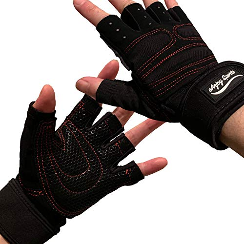 ANJ Sports Weight Lifting/Workout Gloves with Integrated Wrist Support for Men and Women; Lightweight Gym Gloves with Extra Silica Padding for Palm Protection and Strong Grip (L)