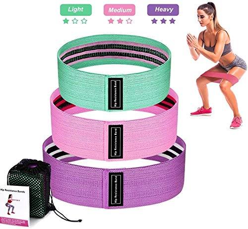 Premewish - Set di 3 Fasce Elastiche per Allenamento Fitness e Stress, con Borsa da Trasporto per Muscoli, Fisioterapia, Pilates, Yoga, Crossfit