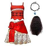 No/Brand Moana - Disfraz de Halloween para niñas, disfraz de fiesta de Halloween, cuello y peluca para niños, cumpleaños, aventura, vacaciones, camiseta, falda