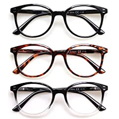Value pack of 3 Unisex Readers for the great price of 1! Convenient set allows you to keep a pair of reading glasses in different places so you always have a pair handy. Lightweight plastic frames and plastic lenses with durable spring hinge temples ...