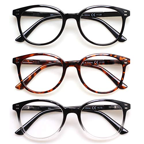 3 Pack Reading Glasses Spring Hinge Stylish Readers Black/Tortoise for Men and Women (3 Mix, 1.0)