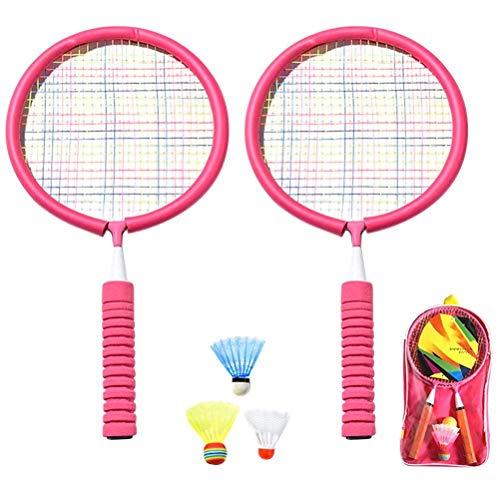 spier Juego de raquetas de bádminton para niños, raquetas de bádminton ligeras con 3 volantes y bolsa de transporte para interiores y exteriores, patio, playa, juego de deportes
