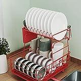 Escurreplatos Vajilla Soporte 2 Pisos Estante de la vajilla Multifuncional Insertar Cuchillo Estante de la Tabla de Cortar La Cocina Estante (Color : Red)