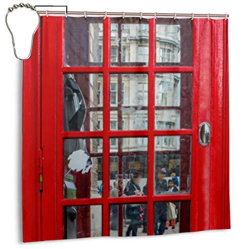 KATERN Caja Inglesa roja del teléfono de la Vendimia Windows en la Puerta, Cortina de Ducha de la decoración del hogar 72inX72in