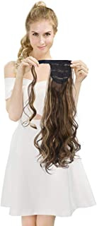 SEIKEA Wrap Around Clip on Ponytail Extension Hairpiece for Women Curly Hair 24 Inch - Light Brown/Blonde Mix