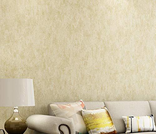 Papel pintado 3D Color sólido no tejido Papel pintado amarillo claro para decoración de pared de dormitorio y hogar, papel pintado minimalista de lujo 0.53mx9.5m
