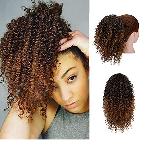 KOODER Short Afro Ponytail Kinky Curly Drawstring Ponytail Hair Extensions 10 Inch Drawstring Curly Ponytail Hair Piece for Black Women (1B-30#)