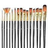 Pinceles para Pintura 16 Piezas Set de Pinceles de Artista Pinceles Profesionales para Acuarela Acrílico Óleo Arte Gouache con Esponjas Cuchillo