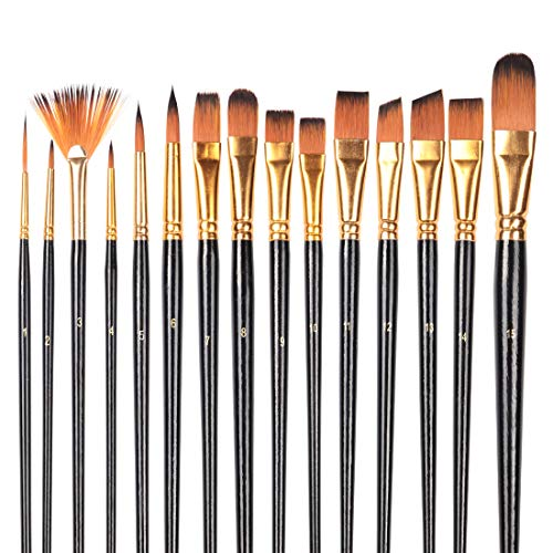 INK LAB Professional Paint Brushes Set 16 PCS Paint Brushes with Oil Painting Knife Sponge Portable Case for Kids Artists Acrylic Watercolor Oil Gouache Painting