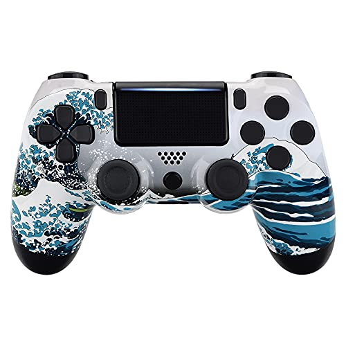 eXtremeRate The Great Wave Patterned Front Housing Shell Case, Glossy Faceplate Cover Replacement Kit for Playstation 4 PS4 Slim PS4 Pro CUH-ZCT2 JDM-040/050/055 Controller - Controller NOT Included