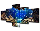 Ocean Fish Picture for Living Room Underwater World Painting Coral Reef Artwork Undersea Sea Life Wall Art 5 Piece Print on Canvas Giclee Aquarium Home Modern Decor Framed Ready to Hang(50''W x 24''H)