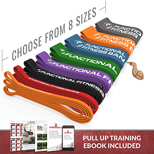 Pull Up Assistance Resistance Exercise Bands - by Functional Fitness   Loop Workout Bands for Stretching, Powerlifting