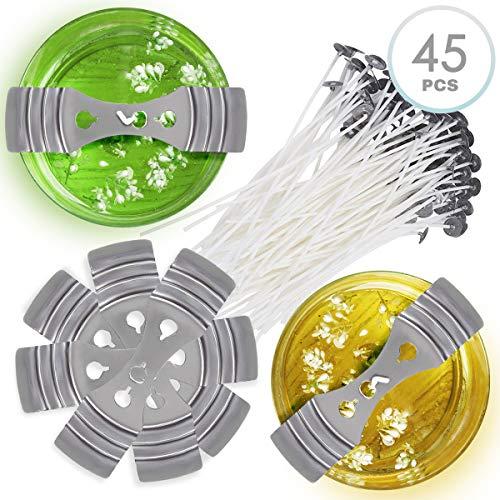 45 Stück DIY Kerzenherstellung Set, 30 Kerzendochte mit Fuß, Candle Wicks & 15 Aentriergerät Unterstützung - Praktisch und Einfach zu Bedienen| Kerzen Selber Machen.