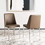 Safavieh Home Collection Mid-Century Modern Baltic Taupe Side Chair (Set of 2)
