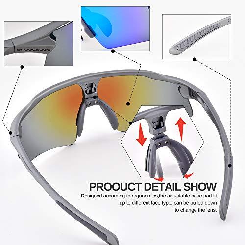 Snowledge Sportbrille Fahrradbrille Herren und Damen Sonnenbrille Erwachsene Sport Radbrille Polarisiert Windschutz Brille Motorradbrille Rahmen TR90 UV400 Schutz - 3