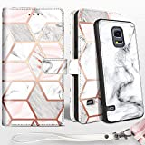 Shields Up Galaxy S5 Wallet Case, [Detachable] Magnetic Wallet Case, Durable and Slim, Lightweight with Card/Cash Slots, Wrist Strap, [Vegan Leather] Cover for Samsung Galaxy S5 -Marble