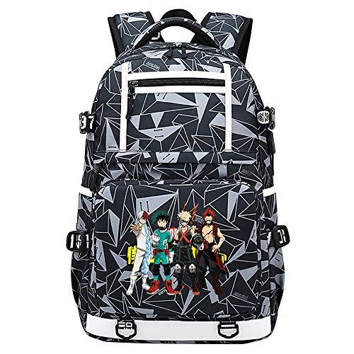 XYUANG My Hero Academia deku/Todoroki Shoto USB Computer portatile d'annata del lavoro di affari della borsa di viaggio di modo dello zaino-I