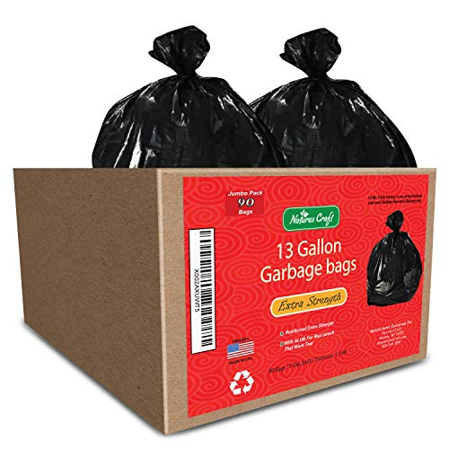 13 gallon Durable Trash Bags - Hefty + Flex - For Kitchen, Cars, Bathroom and Home Use - Rip + Tear Resistant - USA designed by Natures Craft