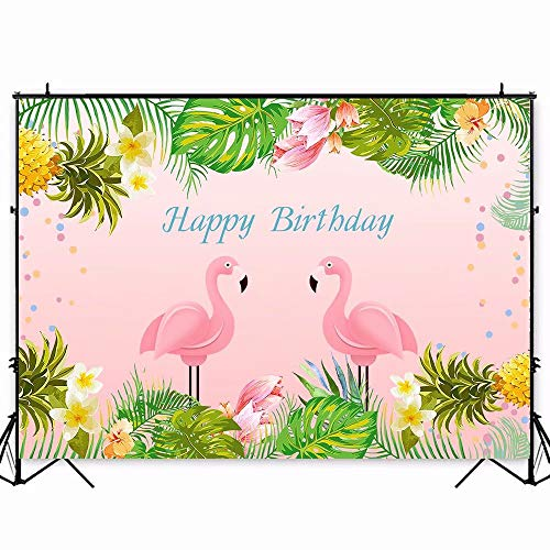7x5ft Pink Flamingo Birthday Backdrop Summer Tropical Pineapple Hawaiian Floral Photography Background Baby Shower Decorations Photo Booth Cake Table Banner W-1889
