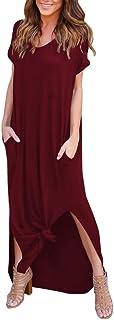 Kimloog Women's Short Sleeve Summer Casual Loose T-Shirt Long Maxi Dress Side Split Beach Sundress