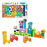 WOOMAX- Juegos Bloques Animales de madera-32 Piezas (Colorbaby 42739) ,...