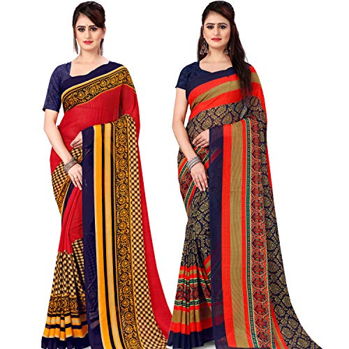 Anand Sarees Set of 2 Georgette Sarees with Blouse Piece, Multicolored, Free Size (COMBO_AS_1499_1560)