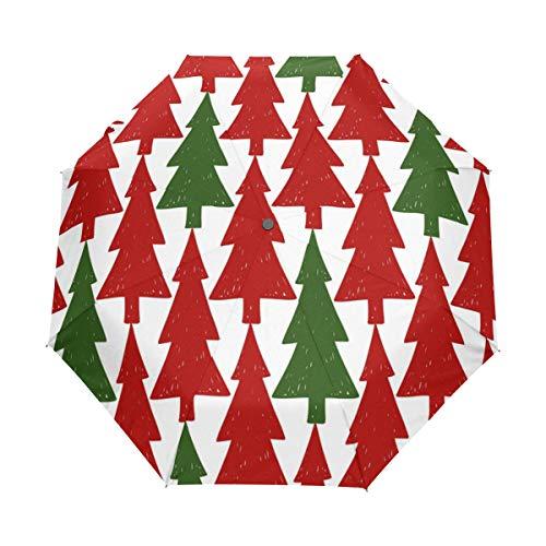 Bigjoke Regenschirm, 3-Fach faltbar, automatisch, mit Weihnachtsbaum-Motiv, Winddicht, leicht, kompakt für Jungen, Mädchen, Männer, Frauen