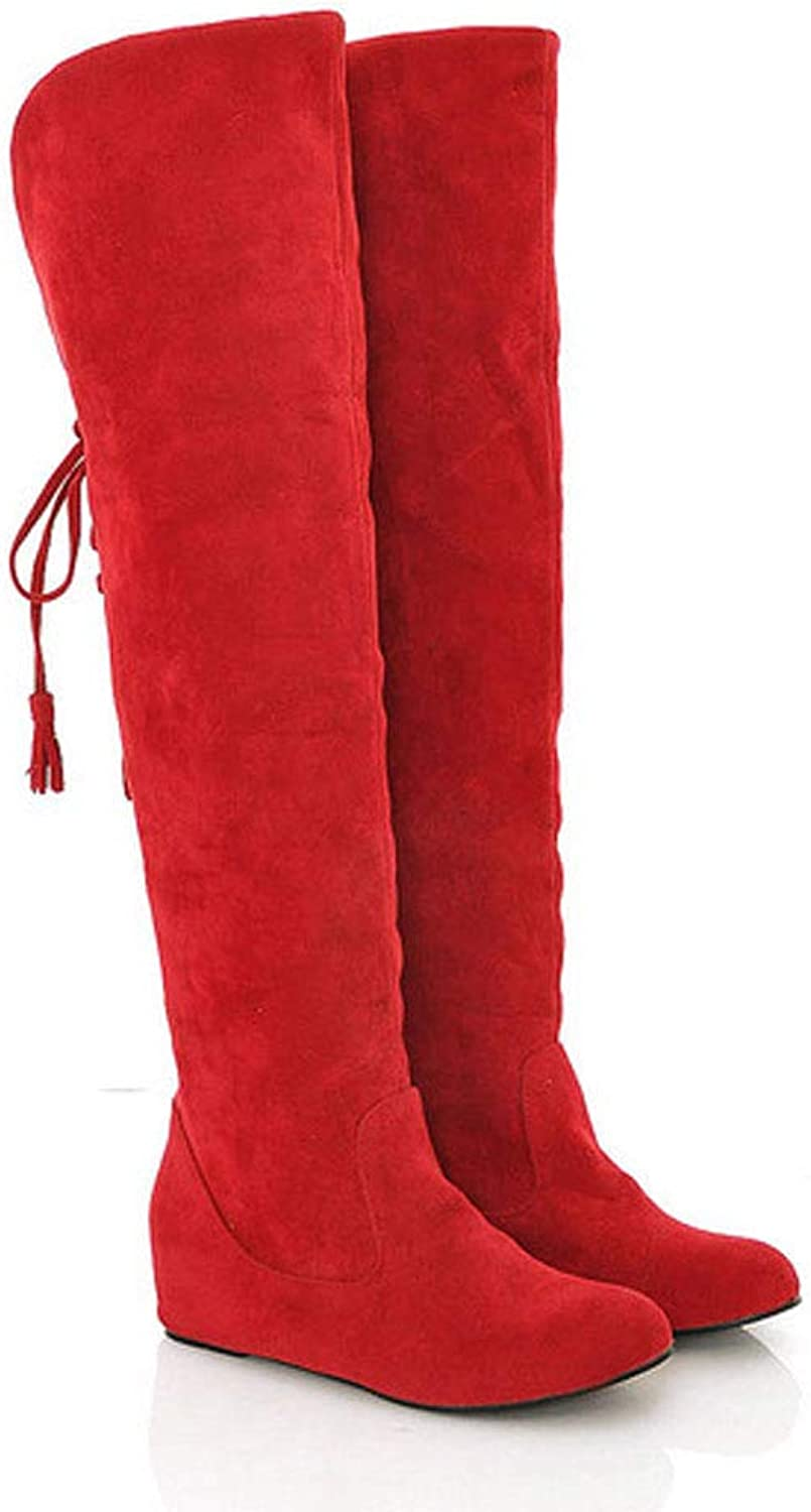 Women's Boots, Large Size Women's shoes Fluffy Surface high Boots Plush Lining Non-Slip Soles Winter Warm Snow Boots, Comfortable Casual shoes,Red,40