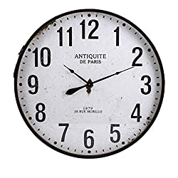 CC Home Furnishings 36.25 Industrial-Style Whitewashed and Distressed Black Iron Wall Clock
