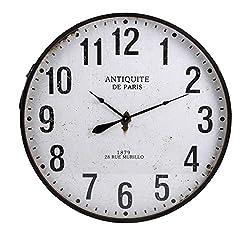 CC Home Furnishings 43.25 Black and White Lexington Wall Clock