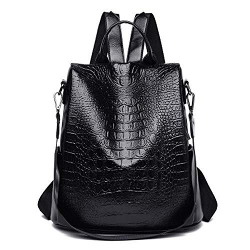 Sbuenam Damenrucksack, PU-Lederrucksack, eine Schulter, Handtasche Frauentasche (schwarz)