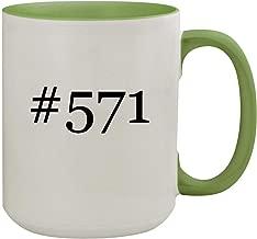 #571-15oz Hashtag Ceramic Inner & Handle Colored Coffee Mug, Light Green