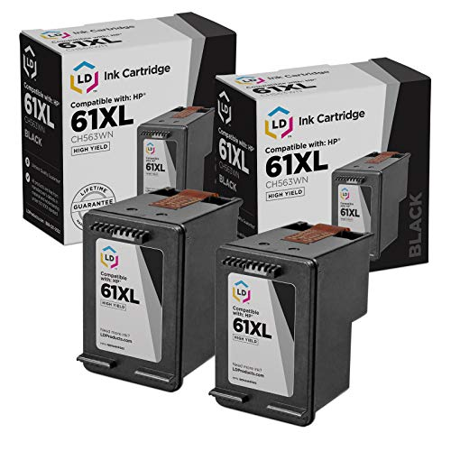 LD Remanufactured Ink Cartridge Replacements for HP 61XL CH563WN High Yield (Black, 2-Pack)
