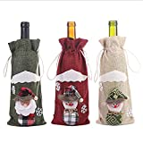 TMF 3 Piezas Lindas Cubiertas de Botellas de Vino de Navidad Bolsas de Botellas de Muñeco de Nieve Disfraces de Navidad Regalos Decoración para Fiesta