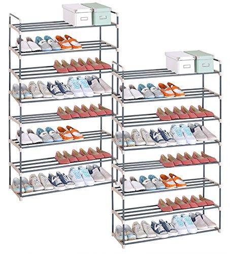 WOLTU® SR0019-2 2 x Schuhablage Schuhregal Schuhständer, XXL 8 Schicht für 40 Paare Schuhe, Ständer Regale, beige(92x30x154cm)