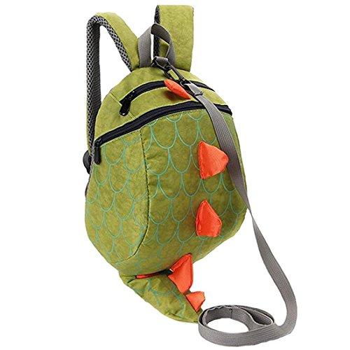 Kinderrucksack Dinosaurier Cartoon 3dKindertasche Nylon RucksackMädchenKlein Backpack Kinder Anti-verloren, 25 cm, 1-5 Jahre (Grün)