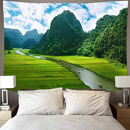 Montaña bosque lago paisaje tapiz arte psicodélico colgante de pared toalla de playa mandala manta fina tela de fondo A4 180x230cm