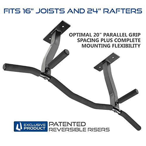Ultimate Body Press Ceiling Mounted Pull Up Bar with Patented Reversible Risers for 16 and 24 Inch...