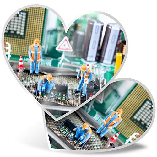 Impresionante pegatinas de corazón de 7,5 cm – Reparación de ordenador placa base hombres divertidos calcomanías para portátiles, tabletas, equipaje, libros de chatarra, neveras, regalo genial #24614