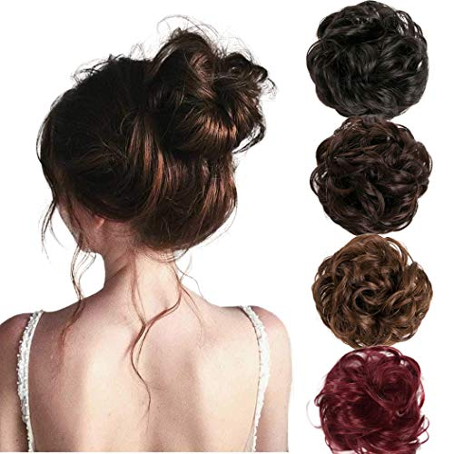 Clairy Hair Bun Extensions Hairpieces Curly Wavy Hair Ponytail Synthetic Hair Fibers Elastic Scrunchie Half Updo Hair Wig Scrunchies for Women and Girls (Wine Red)
